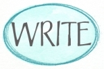 blue oval aqua write